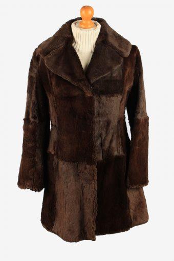 Fur Coat Jacket Lined Hook Womens Vintage Size S Dark Brown C2288