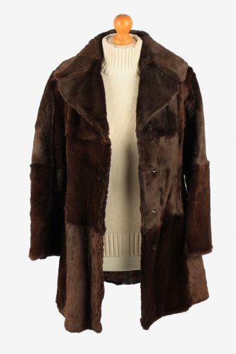 Fur Coat Jacket Lined Hook Womens Vintage Size S Dark Brown C2288-155530