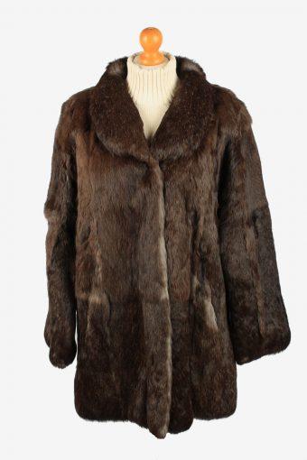 Mexx City Fur Coat Jacket Womens Vintage Size XL Dark Brown C2289