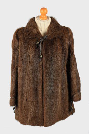 Fur Coat  Jacket Collar  Ladies Vintage Size M Dark Brown C2290
