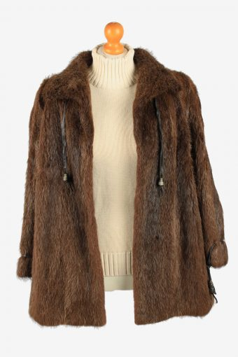 Fur Coat Jacket Collar Ladies Vintage Size M Dark Brown C2290-155540