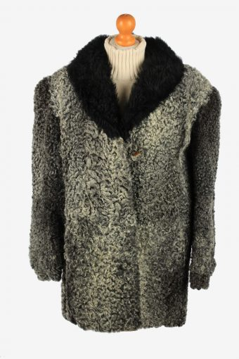 Fur Coat Jacket Hook  Womens Vintage Size XL Dark Grey C2291