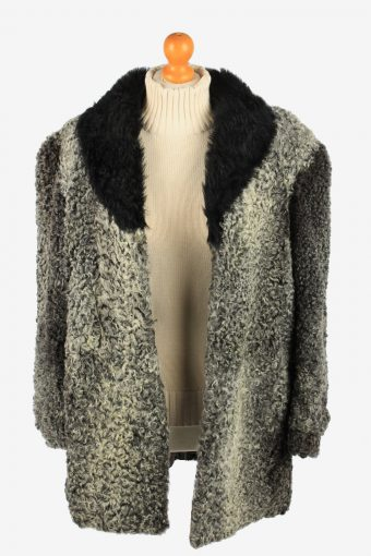 Fur Coat Jacket Hook Womens Vintage Size XL Dark Grey C2291-155545