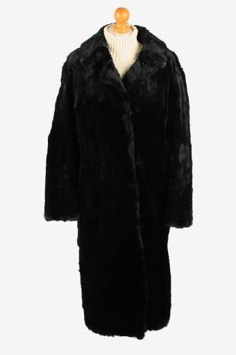 Fur Collar Long Coat Lined Womens Vintage Size L Black C2292