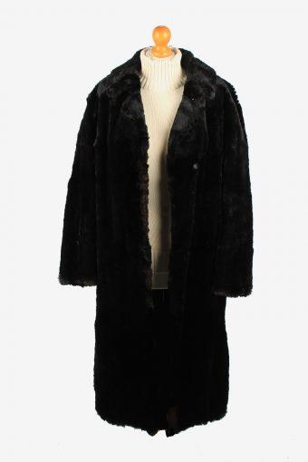Fur Collar Long Coat Lined Womens Vintage Size L Black C2292-155550