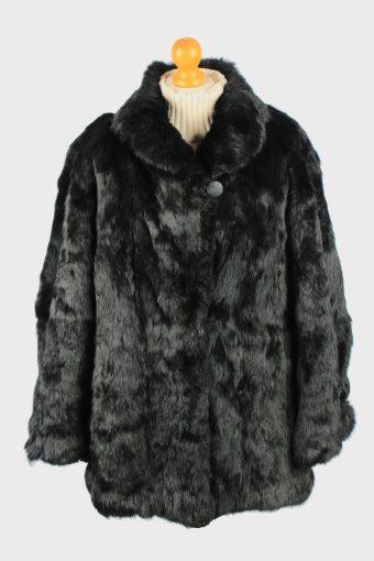 Fur Coat Jacket Button Lined Ladies Vintage Size L Black C2293
