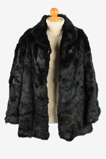 Fur Coat Jacket Button Lined Ladies Vintage Size L Black C2293-155555