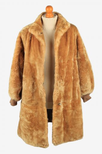 Fur Coat Jacket Lined Ladies Vintage Size XL Coffee C2294-155560