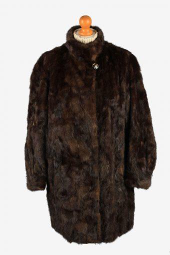 Fur Coat Jacket Lined Womens Vintage Size XL Dark Brown C2296