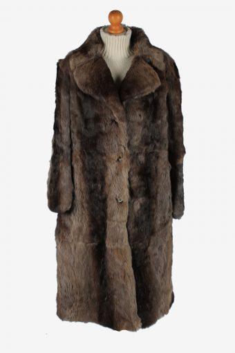 Fur Long Coat Jacket Womens Vintage Size L Brown C2297