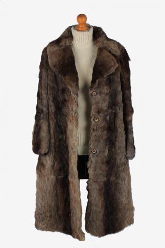 Fur Long Coat Jacket Womens Vintage Size L Brown C2297-155575