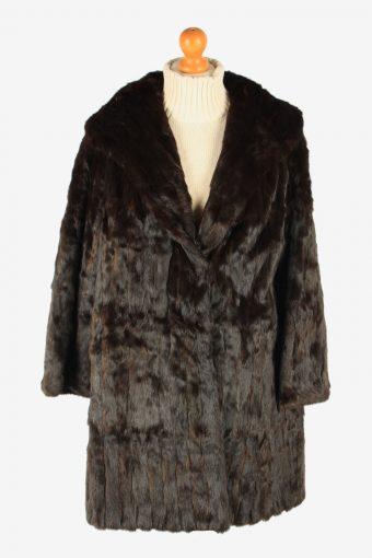 Fur Coat Jacket Lined Womens Vintage Size XL Dark Brown C2298