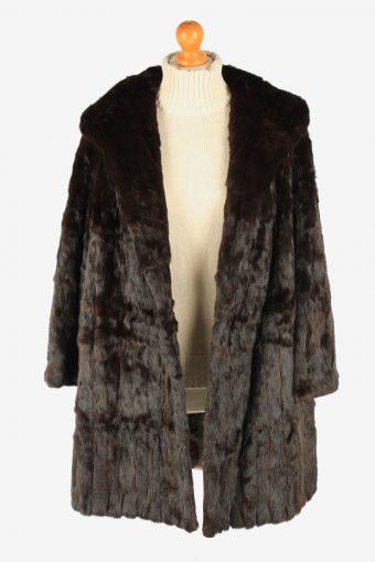 Fur Coat Jacket Lined Womens Vintage Size XL Dark Brown C2298-155580