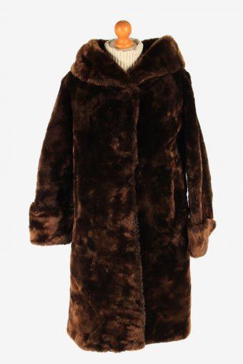 Fur Coat Jacket Lined Womens Vintage Size L Brown C2299