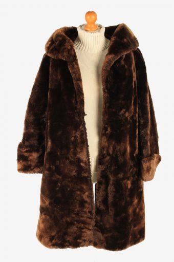 Fur Coat Jacket Lined Womens Vintage Size L Brown C2299-155585