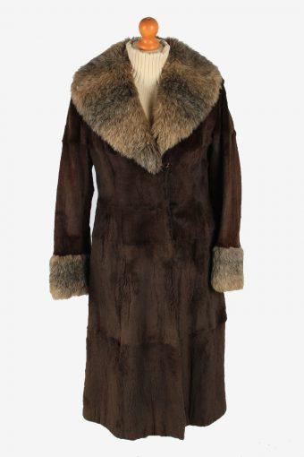 Fur Collar Long Coat Lined Ladies Vintage Size M Dark Brown C2300