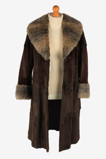Fur Collar Long Coat Lined Ladies Vintage Size M Dark Brown C2300-155590