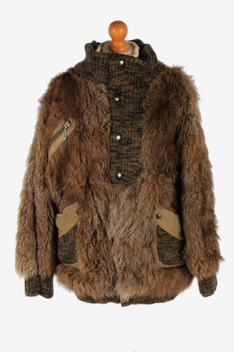 Fur Coat Jacket Lined  Ladies Vintage Size L Brown C2301
