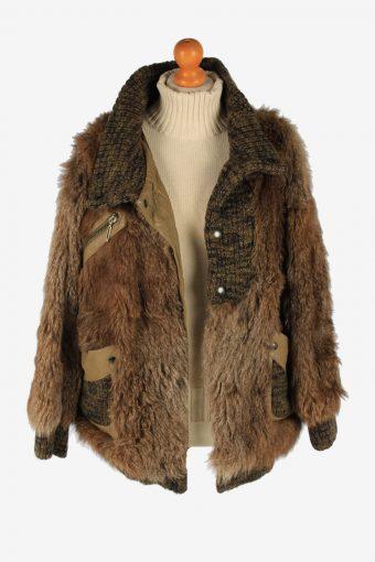 Fur Coat Jacket Lined Ladies Vintage Size L Brown C2301-155595