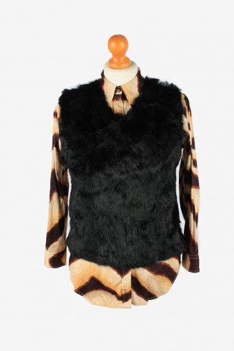 Rabbit Fur Sleeveless Top Vintage Womens UK 10 Black C2265