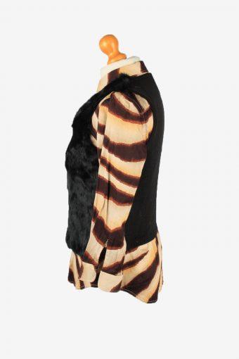 Rabbit Fur Sleeveless Top Vintage Womens UK 10 Black C2265-155127