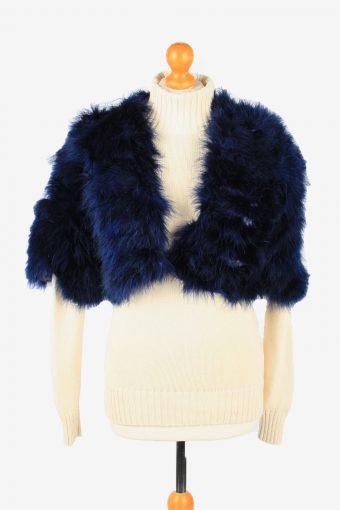 Fur Gilet Waistcoat Vintage  Womens UK 18 Navy C2268