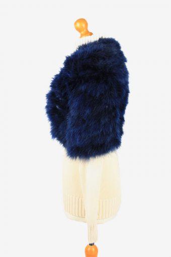 Fur Gilet Waistcoat Vintage Womens UK 18 Navy C2268-155395