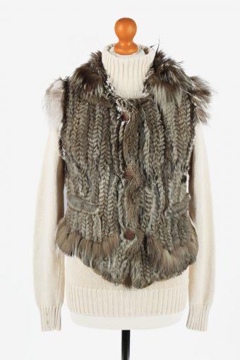 Fur Gilet Waistcoat Vintage Trapper Queens Womens UK 14/16 Grey C2270