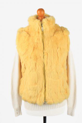 Fur Gilet Waistcoat Vintage Fushi Womens  Yellow C2277