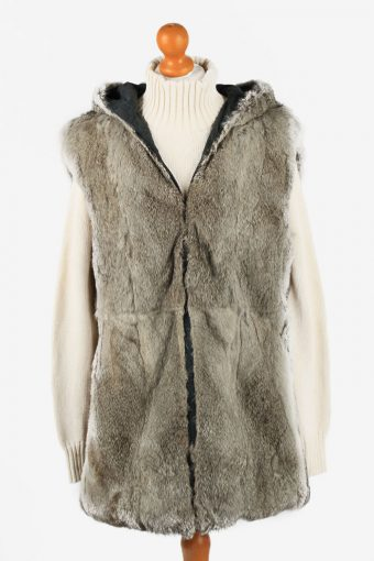 Fur Gilet Waistcoat Vintage  Womens  Grey C2279