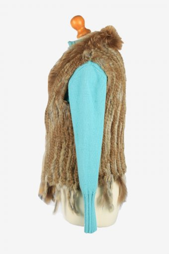 Fur Gilet Waistcoat Vintage Womens UK 12/14 Brown C2257-155095