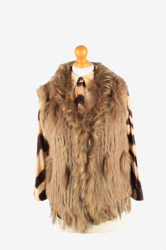 Fur Gilet Waistcoat Vintage Womens UK 14 Brown C2263