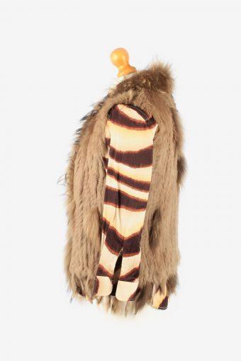 Fur Gilet Waistcoat Vintage Womens UK 14 Brown C2263-155119