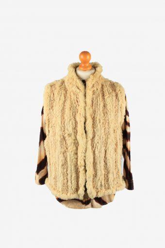 Fur Gilet Waistcoat Vintage Womens UK 14 Light Brown C2264