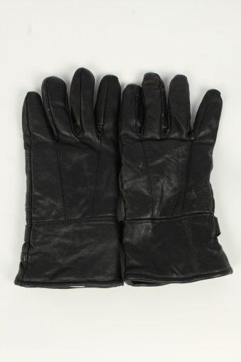 Motorbike Gloves Mens Adjustable Genuine Leather Vintage Size L Black