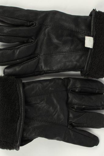 Motorbike Gloves Mens Adjustable Genuine Leather Vintage Size L Black -G477-155865