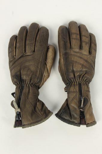 Motorbike Gloves Womens Leather Vintage Zip Size M Brown