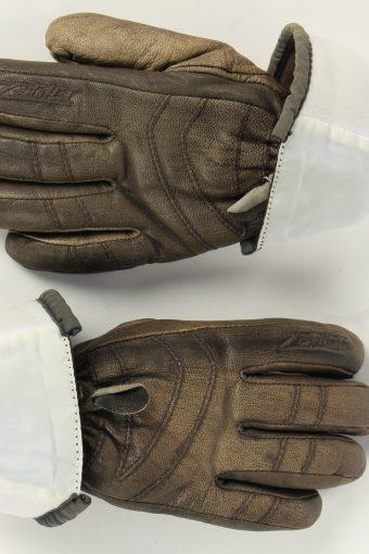 Motorbike Gloves Womens Leather Vintage Zip Size M Brown -G484-155893