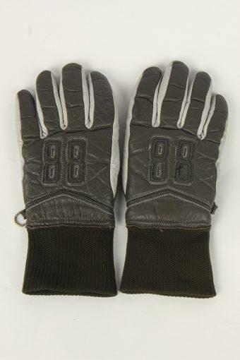 Motorbike Gloves Womens Leather Vintage Size S Grey