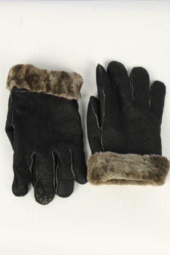 Suede Leather Gloves Vintage Mens Size XL Black -G499-156163