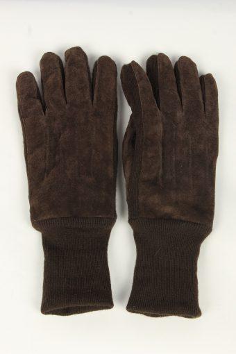 Suede Leather Gloves Vintage Mens Size XL Dark Brown