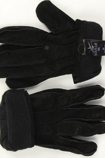 Suede Leather Gloves Vintage Womens Size L Black -G525-156263