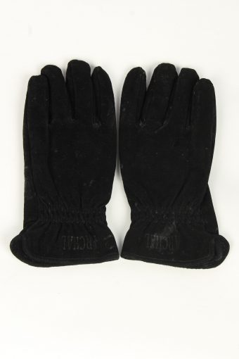 Suede Leather Gloves Vintage Womens Size M Black