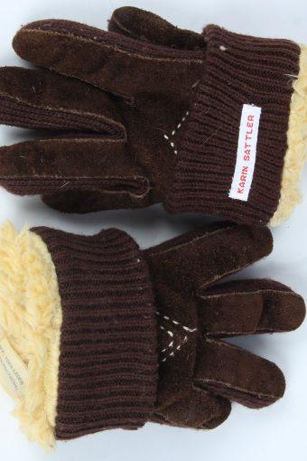 Suede Leather Gloves Vintage Womens Size M Dark Brown -G535-156303