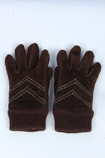 Suede Leather Gloves Vintage Womens Size M Dark Brown