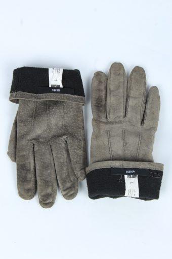 Suede Leather Gloves Vintage Womens Size L Beige -G537-156311