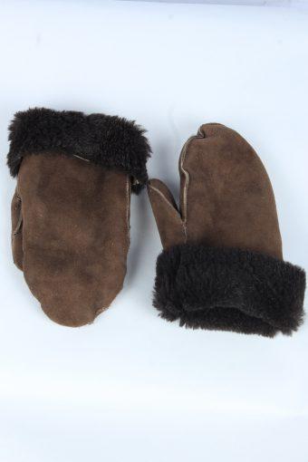 Suede Leather Gloves Vintage Womens Size XXL Dark Brown -G538-156315