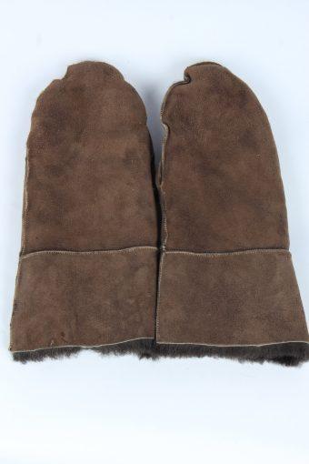 Suede Leather Gloves Vintage Womens Size XXL Dark Brown