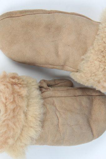 Suede Leather Gloves Vintage Womens Size M Beige -G539-156319