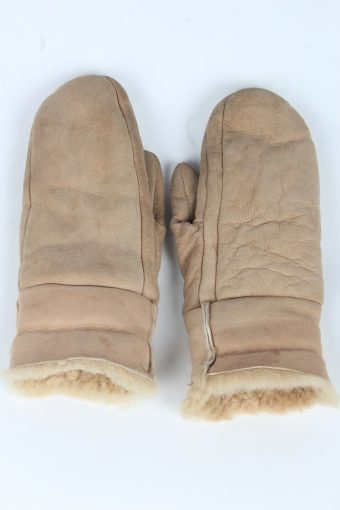 Suede Leather Gloves Vintage Womens Size M Beige